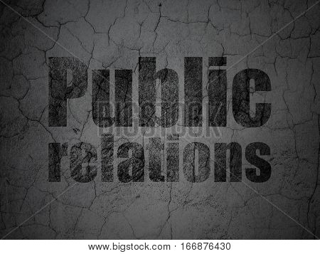 Marketing concept: Black Public Relations on grunge textured concrete wall background