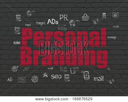 Marketing concept: Painted red text Personal Branding on Black Brick wall background with  Hand Drawn Marketing Icons
