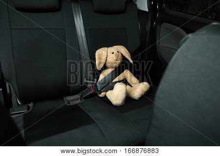 Fastened toy bunny sitting on car seat