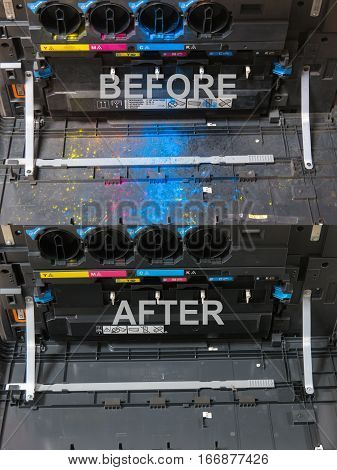 Cmyk Toner Cartridges In Laser Copier Machine