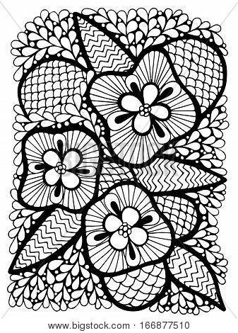 Abstract flower with leaves for adult or child coloring book and pages. Mono color black line art element for design cover.