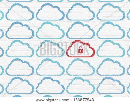 Cloud computing concept: rows of Painted blue cloud icons around red cloud with padlock icon on White Brick wall background