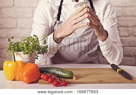 Chef's Hands. Man Is Ready To Prepare Fresh Salad.