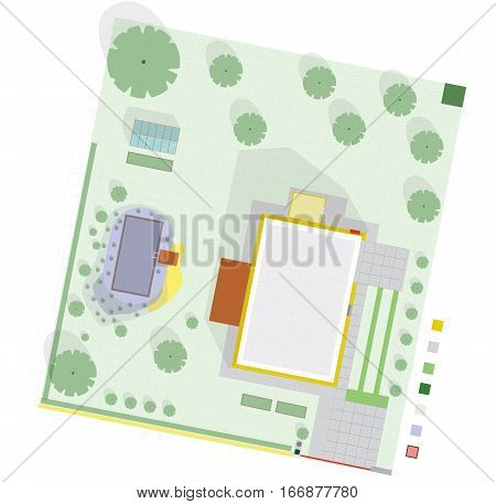 Garden project at family home in plan. Project of garden includes swimming pond, fruit trees, shrubs, driveway, greenhouse. Planning garden for relaxing and productive part. Flat vector illustration