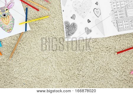 Coloring pictures for adults on floor