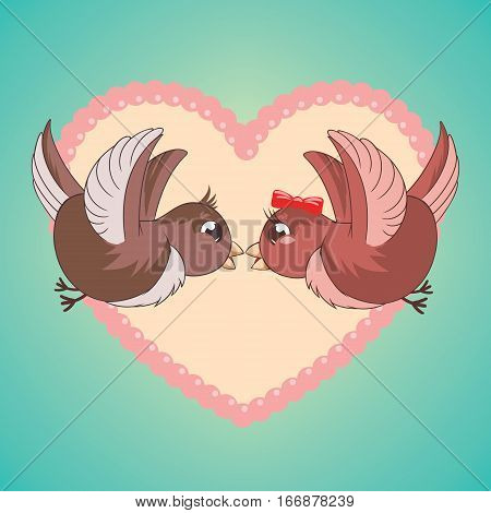 Two birds are kissing and flying like a couple of lovers