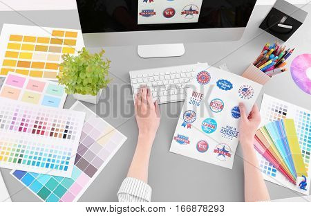 Young designer working in office, closeup
