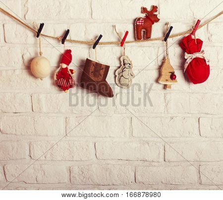 Christmas Decoration Pinted On The Rope