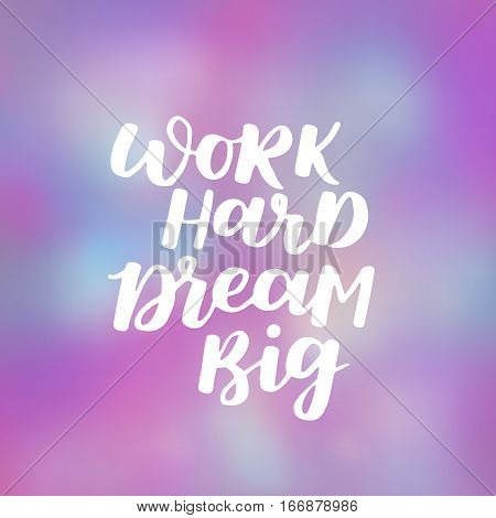 Vector Poster About Workout And Healthy Lifestyle. Purple Dreamy Background With Sport Quote. Hand W
