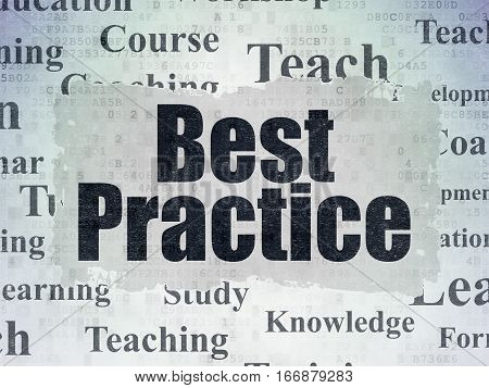 Education concept: Painted black text Best Practice on Digital Data Paper background with   Tag Cloud