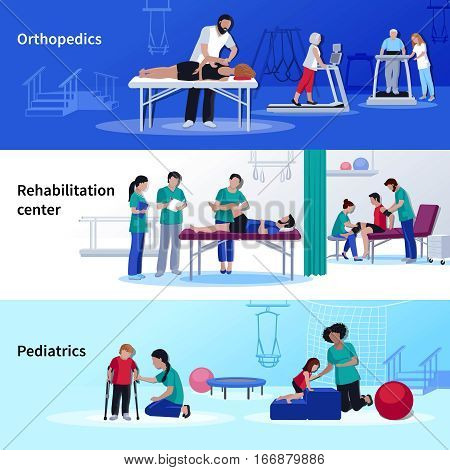 Rehabilitation medical center 3 flat horizontal banners set with orthopedic and pediatric physiotherapy sessions isolated vector illustration