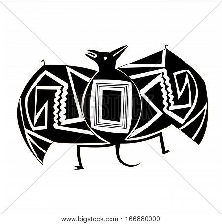 Bat. Ethnic patterns of Native Americans: the Aztec, Inca, Maya (Mexico, Ecuador, Peru). Drawing in the Mexican style. Spider, vulture. Vector illustration.