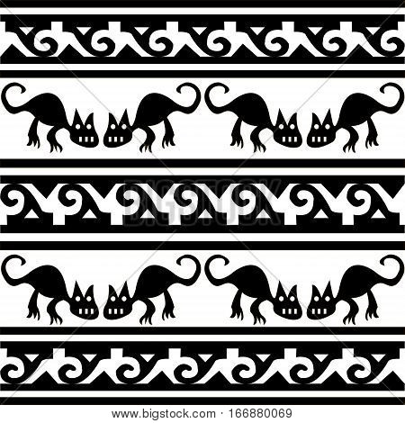 Ethnic patterns of Native Americans: the Aztec, Inca, Maya (Mexico, Ecuador, Peru). Drawing in the Mexican style. cat or puma. Vector illustration.
