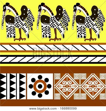 Ethnic patterns of Native Americans: the Aztec, Inca, Maya (Mexico, Ecuador, Peru). Drawing in the Mexican style. heron (wader). Vector illustration.