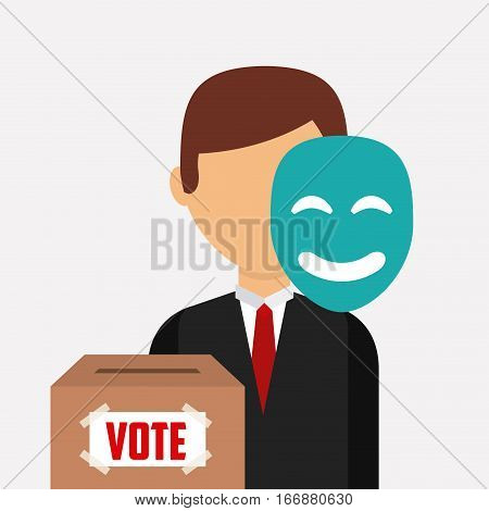 election candidate with mask and box of vote over white background. colorful design. vector illustration