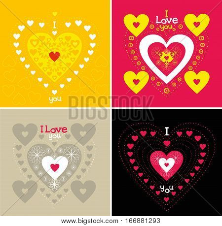 Multicolored hearts card for lovers on Valentine's Day
