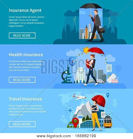Set of banners with people under umbrellas insurance services for property health and travel isolated vector illustration