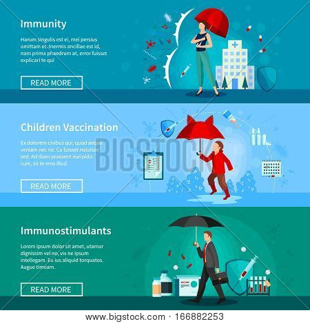Set of horizontal banners with people under umbrellas immunity and medications children vaccination isolated vector illustration