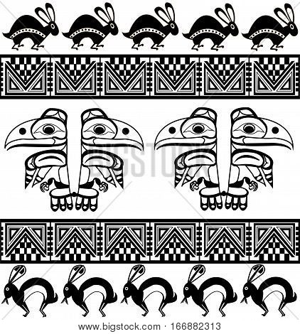 Ethnic patterns of Native Americans: the Aztec, Inca, Maya, Alaska Indians (Mexico, Ecuador, Peru). Drawing in the Mexican style. raven and rabbit. Vector illustration.