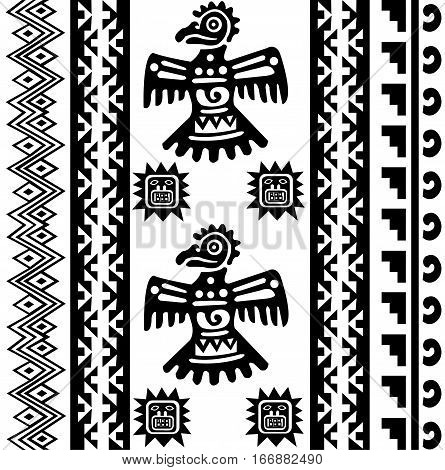 Ethnic patterns of Native Americans: the Aztec, Inca, Maya, Alaska Indians (Mexico, Ecuador, Peru). Drawing in the Mexican style. Raven (or Eagle). Vector illustration.