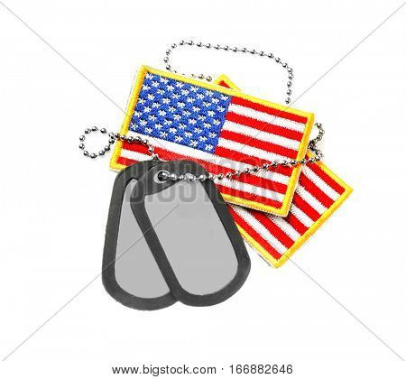 Military ID tags with USA flag on white  background
