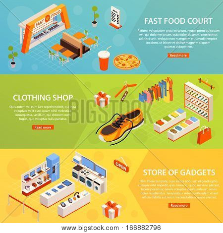 Fast food court wear and gadget electronics store horizontal banners with text and read more button vector illustration