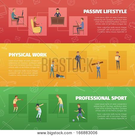 Three horizontal banners set with physical work and sport activities with human character icons and text vector illustration