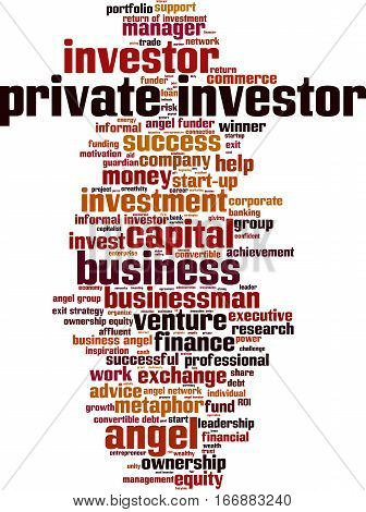 Private investor word cloud concept. Vector illustration