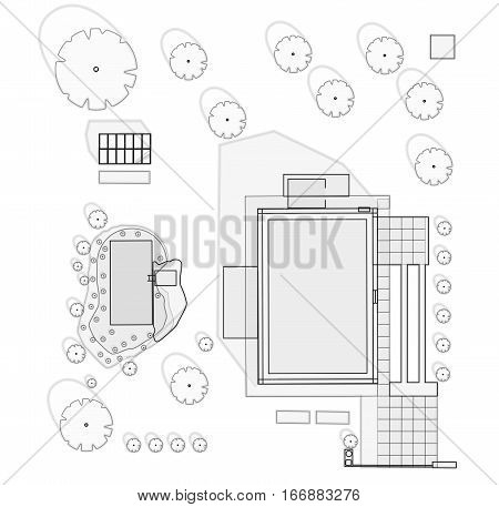 Garden project at family home in plan. Project of garden includes swimming pond, fruit trees, shrubs, driveway, greenhouse. Planning garden for relaxing and productive part. Outlined vector illustration