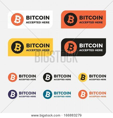 World cripto currency Bitcoin vector sticker. Bitcoin lable. Bitcoin icon set. Accepted bitcoin badges.