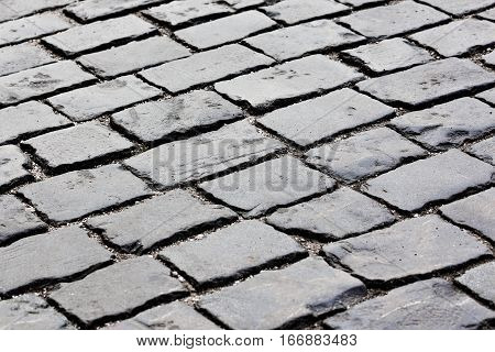 Closeup view of paving stone street of the Red Square in Moscow