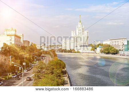 Kotelnicheskaya Embankment And Moscow River