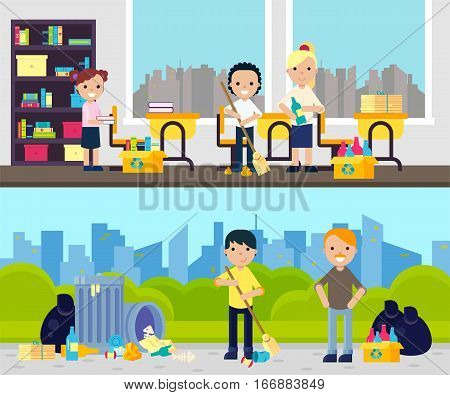 Gathering garbage composition with people collecting waste at school and outdoor in flat style vector illustration