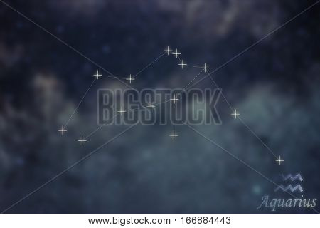 Aquarius Constellation. Zodiac Sign Aquarius Constellation Lines Galaxy Background