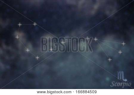 Scorpio Constellation. Zodiac Sign Scorpio Constellation Lines Galaxy Background