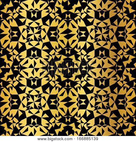 Vector Golden On Black Abstract Kaleidoscope Triangles Grunge Foil Texture Seamless Pattern Background. Great for elegant gold fabric, cards, wedding invitations, wallpaper, floor, kitchen tile. Surface pattern design.