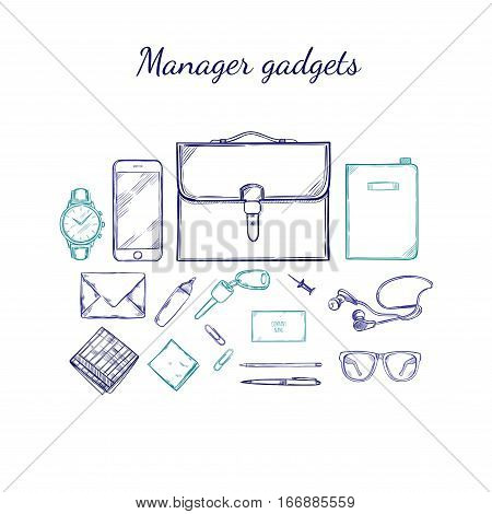 Manager accessories sketch set with briefcase clock smartphone tablet wallet money glasses headphones office supplies isolated vector illustration