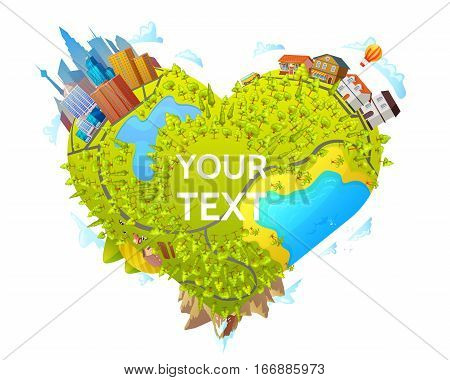 Heart shape map concept with nature landscape and travel bus moving from city to suburban district vector illustration