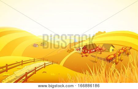 Autumn farm landscape composition with orange field trees houses wheat and river vector illustration
