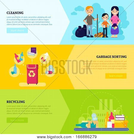 Garbage collecting horizontal banners with gathering sorting and recycling of waste in flat style vector illustration