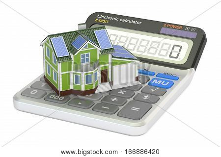 saving energy consumption for house efficiency from solar panels concept. 3D rendering isolated on white background