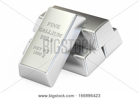 set of gallium ingots 3D rendering isolated on white background poster