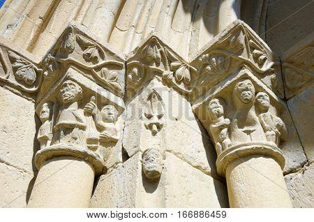 romanesque front in spanish church, San Juan, Montanana, Huesca Province, Aragon, Spain.