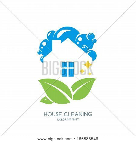 Cleaning Service Vector Logo, Emblem Or Icon Design Template. Clean House And Green Leaves Isolated