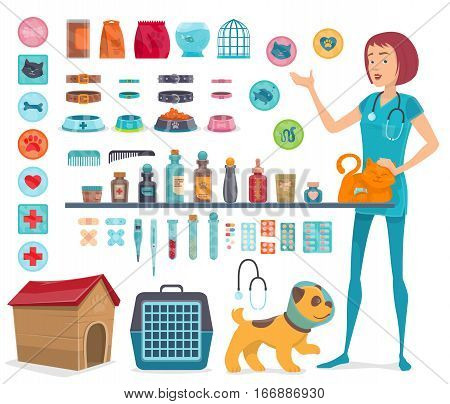 Veterinary icons collection with pet doctor   medical tools and animal products isolated vector illustration