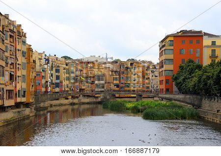 Buildings along the River Onyar in the city of Girona in Spain