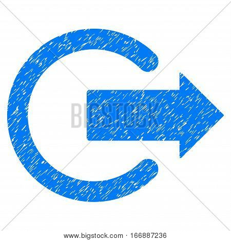 Logout grainy textured icon for overlay watermark stamps. Flat symbol with dust texture. Dotted vector blue ink rubber seal stamp with grunge design on a white background.