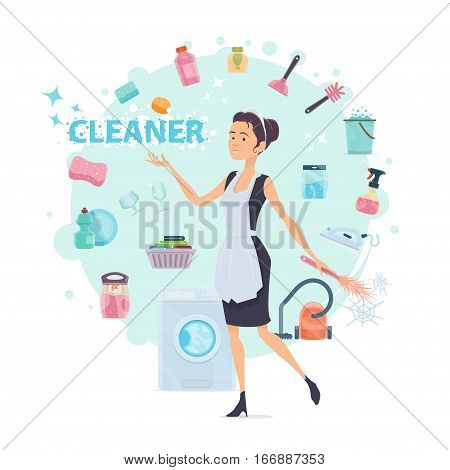 Colorful cleaning round composition with maid and different household supplies tools and accessories vector illustration
