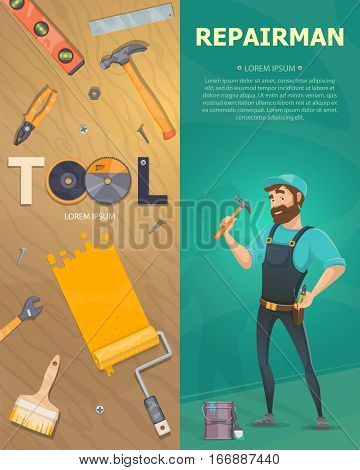 Colorful technician vertical banners with workman repair instruments accessories and  equipment vector illustration