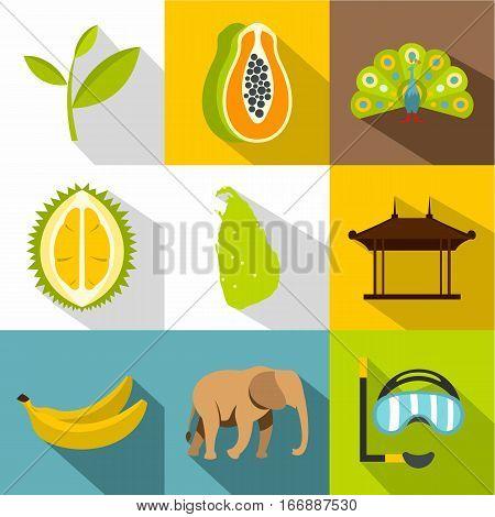 Country Sri Lanka icons set. Flat illustration of 9 country Sri Lanka vector icons for web